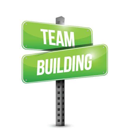 Team-Building-Straße Zeichen Illustration Design über einem weißen Hintergrund