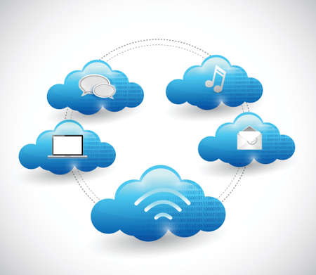 wi: cloud network diagram illustration design over a white background