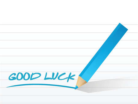 good luck message written on a notepad paper
