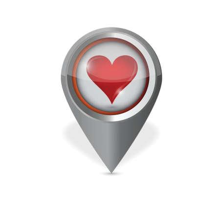 position d amour: pointeur conception d'illustration de coeur sur un fond blanc