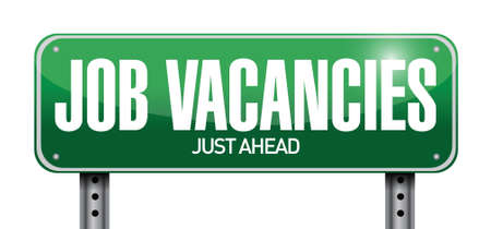 job vacancies road sign illustration design over a white background