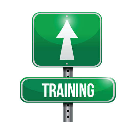 teaching adult: training road sign illustration design over a white background