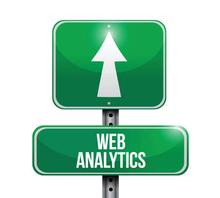 web analytics road sign illustration design over a white background