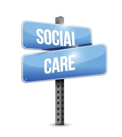 social care road sign illustration design over a white background