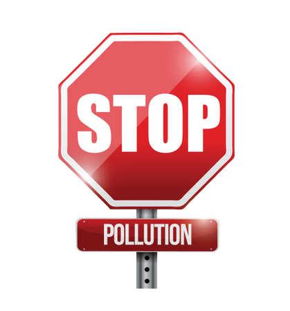 stop pollution road sign illustration design over a white background Illustration