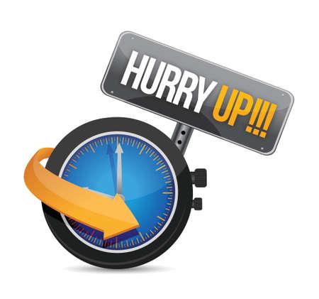 hurry up: affrettatevi orologio messaggio design illustrazione su uno sfondo bianco