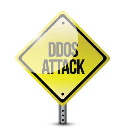 executing: ddos attack road sign illustration design over a white background Illustration