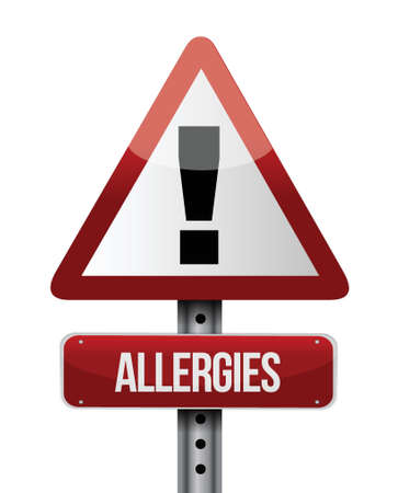 triangular eyes: allergies road sign illustration design over a white background