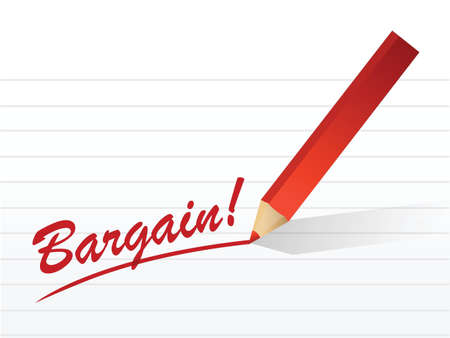 bargain written on a white piece of notebook paper