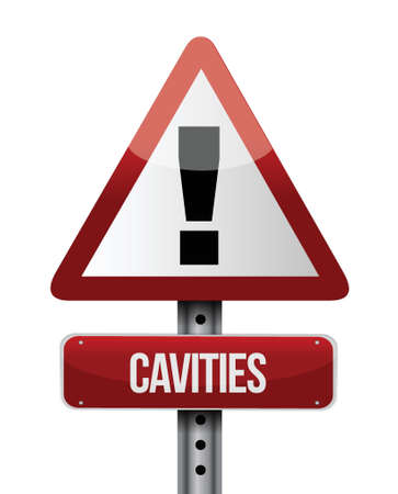 mouth cavity: cavities road sign illustration design over a white background