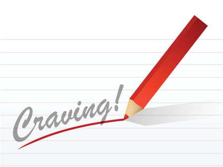 craving: deseo escrito en un pedazo blanco de papel de cuaderno