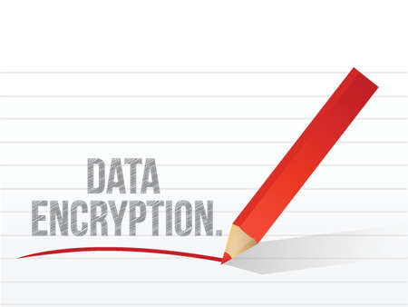 cryptography: data encryption written on a white piece of notebook paper Illustration