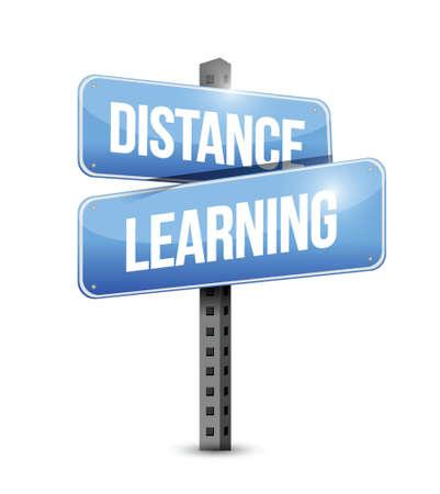 distance learning road sign illustration design over a white background Ilustração