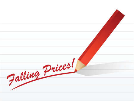 ollection: falling prices written on a white piece of notebook paper Illustration