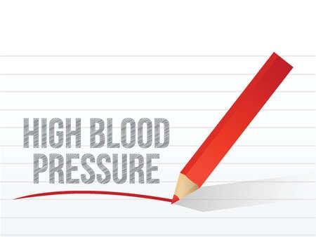 habitos saludables: presión arterial alta por escrito en un pedazo blanco de papel de cuaderno Vectores