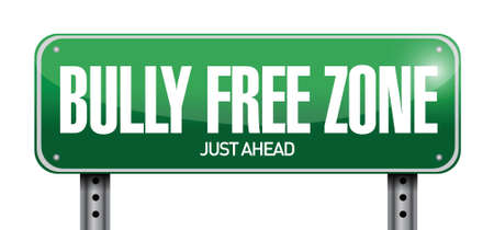 bully free zone road sign illustration design over a white background