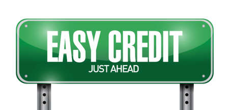 easy credit road sign illustration design over a white background Illusztráció