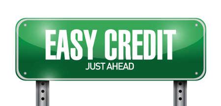 easy money: easy credit road sign illustration design over a white background Illustration