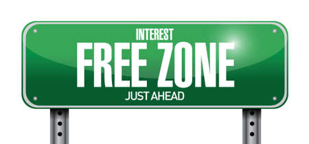 purchased: interest free zone road sign illustration design over a white background Illustration