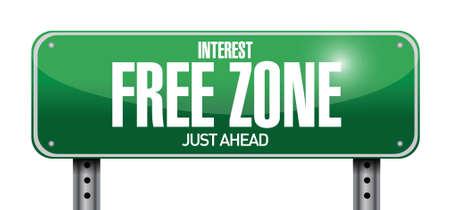 opportunity sign: interest free zone road sign illustration design over a white background Illustration
