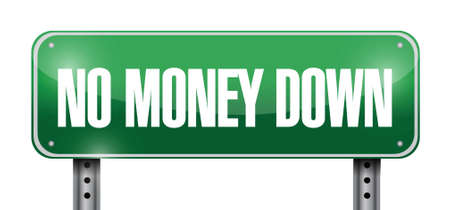 no money down road sign illustration design over a white background