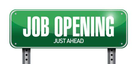 job opening: job opening road sign illustration design over a white background Illustration