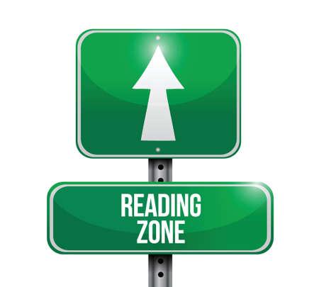 eduction: reading zone road sign illustration design over a white background Illustration