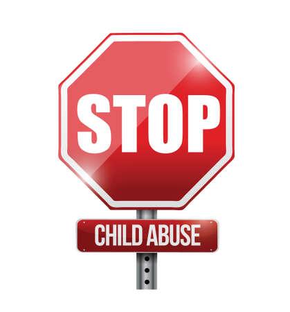 stopper les abus conception d'illustration de signe de route de l'enfant sur un fond blanc Vecteurs
