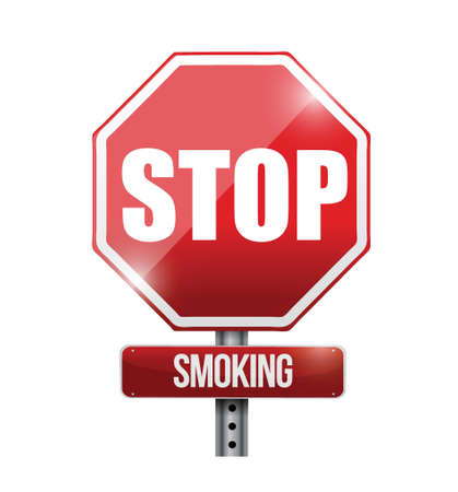 stop smoking road sign illustration design over a white background