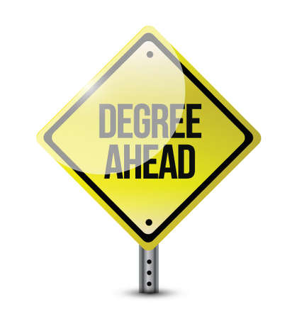 ged: degree ahead road sign illustration design over a white background