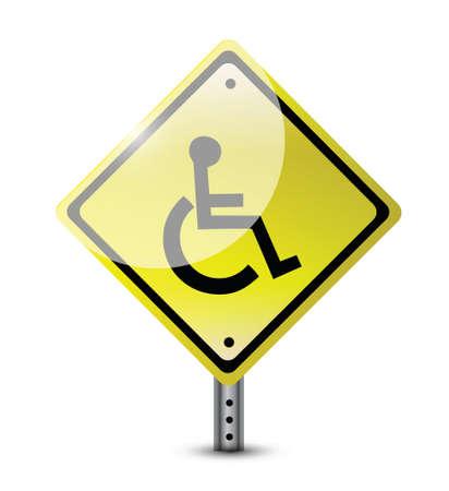 handicap road sign illustration design over a white background Vectores