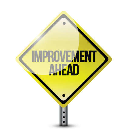 critique: improvement ahead road sign illustration design over a white background Illustration