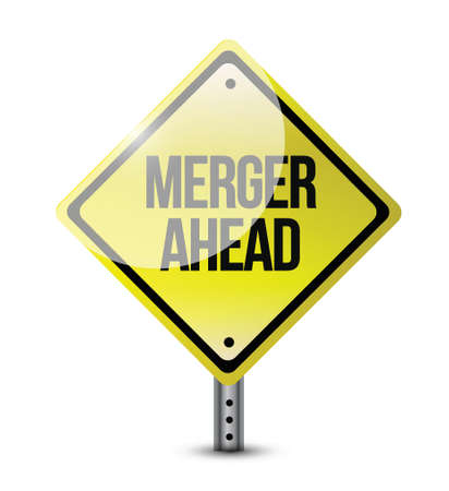 merger: merger ahead road sign illustration design over a white background