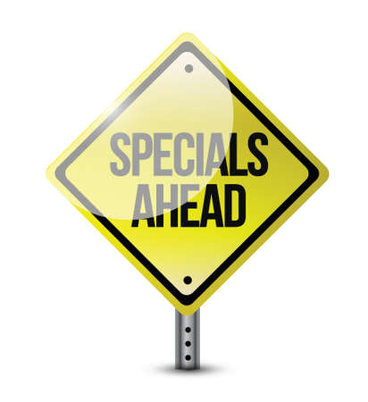 specials ahead road sign illustration design over a white background Vector