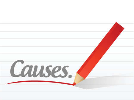 causes written on a white piece of paper. illustration design Illustration