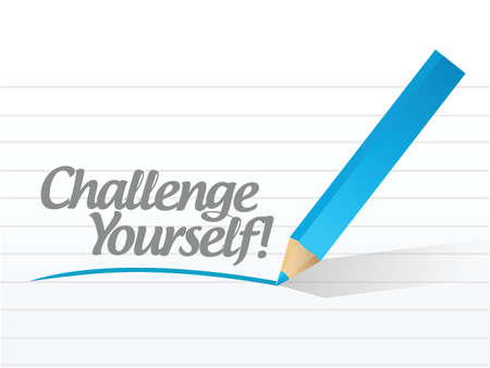 challenge yourself written on a white piece of paper. illustration design