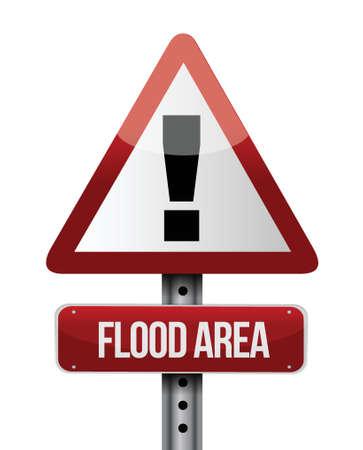 flood area: flood area road sign illustration design over a white background