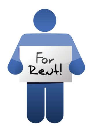 holding a for rent sign. illustration design over a white background Vector