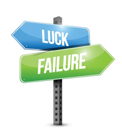 luck and failure road sign illustration design over a white background