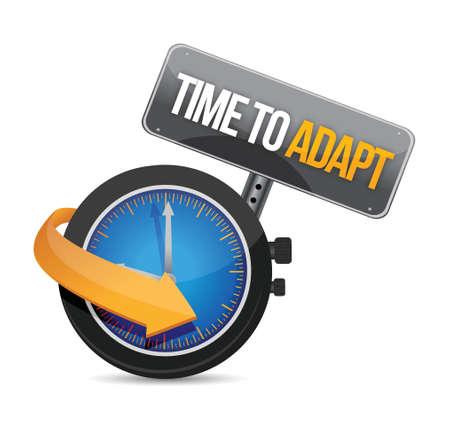 modificar: tiempo para adaptarse concepto de diseño del reloj ilustración en blanco