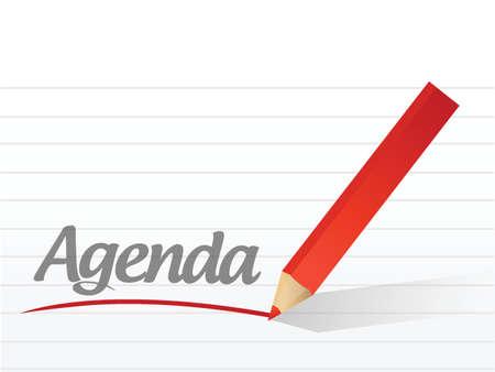 agenda written on a white paper. illustration design notepad paper Stock Vector - 22250952