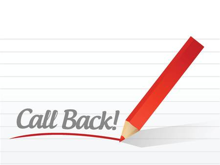 call back written on a white paper. illustration design notepad paper Illusztráció