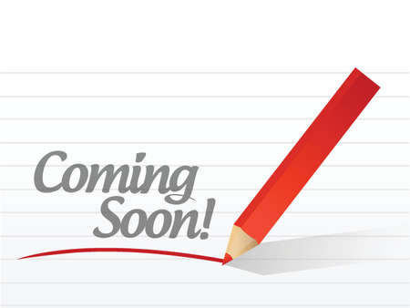 exciting: coming soon written on a white paper. illustration design notepad paper