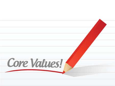 valores morales: valores escritos en un papel blanco. ilustración de papel de la libreta de diseño