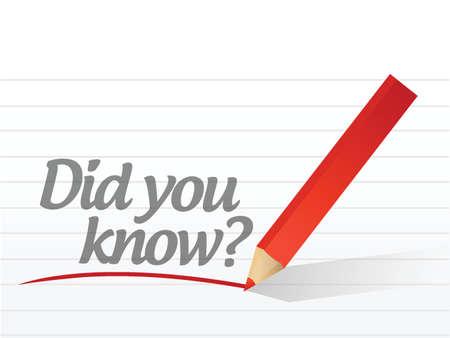 ¿Sabías que está escrito en un papel blanco? papel de bloc de notas de diseño de ilustración