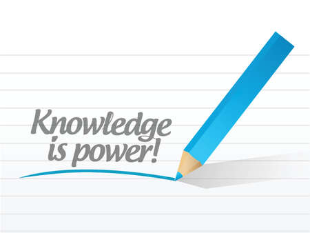 knowledge is power written on a white paper. illustration design notepad paper