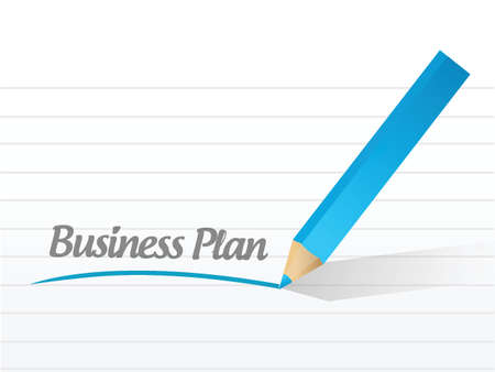 marketing research: Business plan written on a white paper illustration design