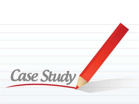 sampling: case study written on a white paper illustration design