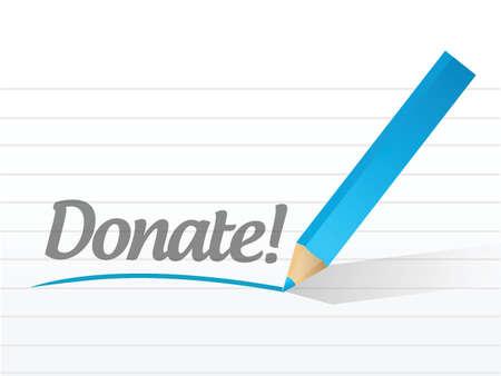 doneren geschreven op een white paper illustratie ontwerp Stock Illustratie