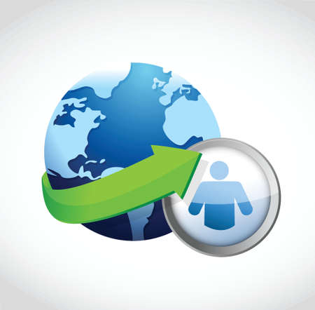 globe and icon illustration design over a white background 向量圖像